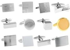 Laser Engraved Rectangle Silver Mens Wedding Gift Cufflinks Cuff Links Gift