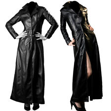 Black Sexy Woman Gothic Trench Jacket Leather Long Coat Fitted Long Floor Length