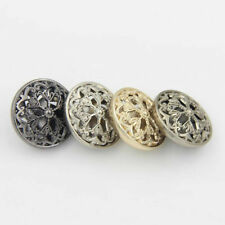 7PCS New Metal Hollow Out Flower Shank Buttons Coat Sewing Craft DIY 18 22 25MM