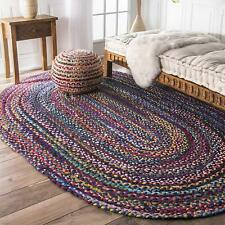Oval Braided Cotton Area Blue Rug Hardwood Floors Natural Rug Various Size