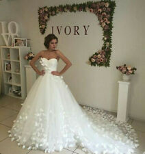 Ivory /white Wedding Dresses Bridal Gowns with Butterflies Strapless Custom Plus