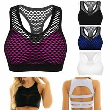 Women's Yoga Sports Bra Fitness Stretch Workout Netted Racerback Padded Tank Top