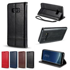 For Samsung Galaxy Note 10+ S10 S9+ Ture Leather Wallet Flip Holder Case Cover