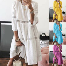 Women Boho Crew Neck Dresses Hollow Out Splice 3/4 Sleeve Casual Mid-Long Dress