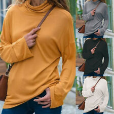 Womens Turtleneck Long Sleeve Autumn Winter Warm Slim Solid Casual Blouse