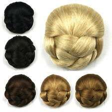 Womens Lady Chignon Synthetic Updo Hairpiece Clip-In Hair Bun Extension New LY