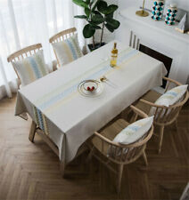 1.Tablecloth Heavy Weight Cotton Linen Fabric Dust-Proof Table Cover