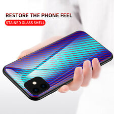 For iPhone 11 Pro Max XR XS 8 7 Luxury Gradient Tempered Glass Carbon Case Cover