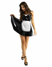 Women Leather Costume Cosplay Uniform Maid Outfit Fancy Dress Apron A-line Dress