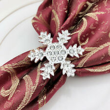 6pcs Snowflake Napkin Rings Metal Rhinestone Napkin Holders for Christmas Party