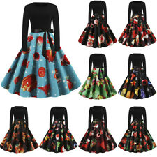 Womens Christmas Party Prom Dress Ladies Vintage 1950s Long Sleeve Evening Dress