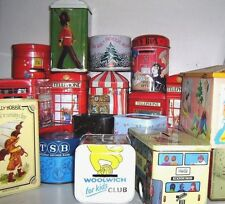 BARGAINS @@ - UK - MONEY BOX TINS 1960/90 ~ click - Select - to browse or order