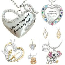 925 Silver Rainbow Topaz  Cute Animal Heart Pendant Women Necklace Chain Jewelry
