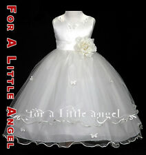 NEW FLOWER GIRL ROSE BUTTERFLIES WEDDING DRESS 2 4 6 8