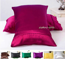 2 PCS 22MM 100% PURE SILK SATIN PILLOWCASE SHAMS US TRADITIONAL STYLE ALL SIZE