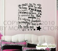 I'm Just Me Girls Inspirational Vinyl Wall Quote Decal
