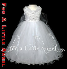 WHITE FLOWER GIRL DRESS w LACE COMMUNION sz. 2 4 6 8 10