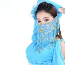 SV02# Belly Dance Costume Veil Hand-made Sequins Voile Wrap 9 Colors