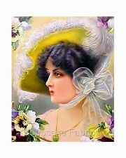 Lady With Pansies Big Hat Fabric Applique Multi Sizes