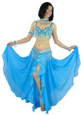 Belly Dance Costume 4Pics Bra&Belt&Armbands&Necklace 34B/C 36B/C 38B/C 8 Colors