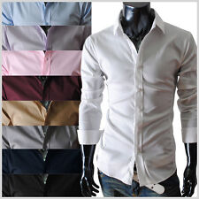 TheLees Mens casual Slim Fit long & short sleeve Dress Shirts 9 colors