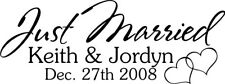 Just Married Vinyl Sticker Decal wall QUOTE Decor Car