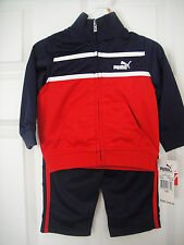 PUMA NWT Infant Boys 2PC Top Pants Jacket Track Suit Warm Up 12 18 24 Red Navy