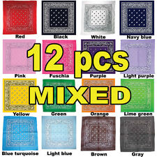 COTTON Lot wholesale dozen Bandanas 12 PCS MIXED head