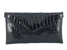 Neat envelope patent croc clutch bag