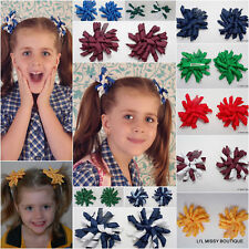 2 KORKER HAIR CLIPS CLIP CURLY RIBBON BOW SCHOOL CHEERLEADING NETBALL SPORT PAIR