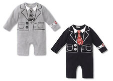 BABY BOY FAKE TIE FORMAL WEDDING TUXEDO ROMPER 3-24MOS
