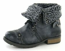 SALE Boys Cutie black/grey synthetic lace up ankle boot Faux fur cuff N2014