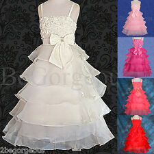 Layer Dress Wedding Flower Girl Bridesmaid Dresses Party Occasion Age 2y-9y 136