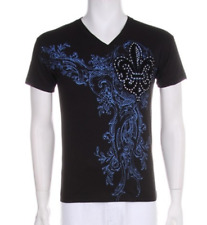 Mens New Fleur De Lis Design Graphic V-neck White/Black Vintage Cotton T-shirt