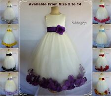 Ivory Flower Girl Dress with Rose Petal size 2-4-6-8-10-12