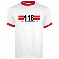 118 118 FANCY DRESS WHITE T-SHIRT WITH RED TRIM LIKE THE NEW ADVERTS RINGER