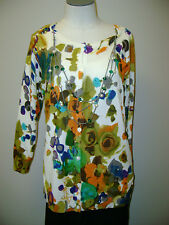 Joseph A. Floral Pattern Cardigan with Necklace NWT $68