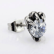 Dragon's Claw Clear CZ Silver TONE Stainless Steel MENS Boys Stud Earring Gift