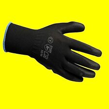 5 PAIRS OF BLACK PREMIUM NEW PU COATED WORK BUILDERS MECHANIC GLOVES