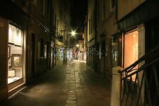 Venice, Italy Alley at Night with Street Lamp - Photo Poster Print