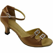 TPS Tan Satin Latin Ballroom Salsa Dance Shoes All Sizes D749