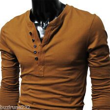 (DK12) THELEES Mens casual Slim fit Button point Long Sleeve Tshirts