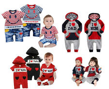 (3-21M) Baby Boy Girl Twins Sporty Hoodies I Love Mum / Dad Body Suit Romper