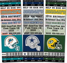Printed Football Birthday/Baby ShowerTicket or 4X6 Invitations (Any Team)