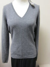High End Department Store Cashmere V-Neck Sweater Charcoal NWT $128