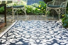 Venice Cream & Black Outdoor & Indoor Rugs Placemats - Many Sizes, Recycle Green