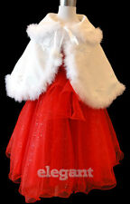 White Flower Girls Faux Fur Ribbon Cape Wedding Wrap Folded Jacket Coat Age 1-12