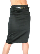NEW (2347) smart sateen skirt with FREE belt black size 8-18
