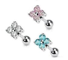 New CZ Flower Tragus / Labret Piercing 6mm Bar Cartilage Helix 1.2mm Stud (G37)