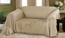 TAUPE DIXIE DOBBY WEAVE FURNITURE THROW COVER FANCY FRINGE BORDER SLIPCOVER SOFA